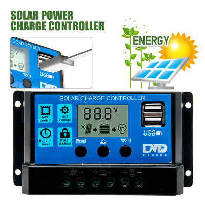 LCD USB 10A 12/24V Solar Power Regulator Charge Controller Battery Protection &
