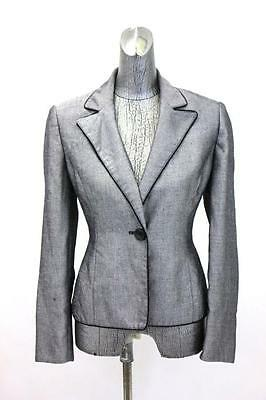 womens gray black fleck LE SUIT blazer jacket casual career classic pipiing S 6