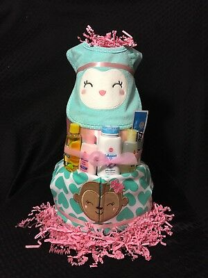 Baby Girl Diaper Cake 3 Tier Carters Shower Gift Owl Monkey Aqua Pink Johnsons