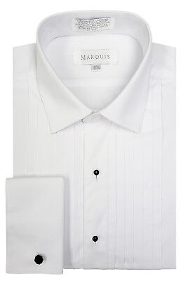 Marquis Men's White Classic-Fit French Cuff Tuxedo Shirt w/ 1/2 Inch Pleats NEW