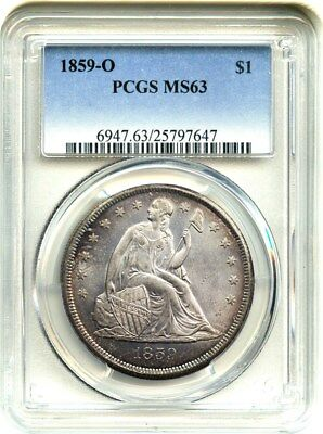 1859-O $1 PCGS MS63 - Liberty Seated Dollar - Great Type Coin