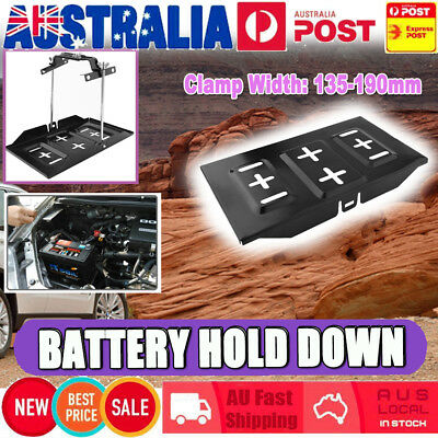 Car Battery Tray Adjustable Hold Down Boat Caravan Clamp Bracket Cycle 135-190mm