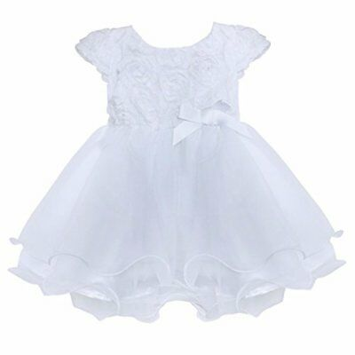 FEESHOW Infant Baby Girls' Organza Layered Baptism Dress White 6-9 Months