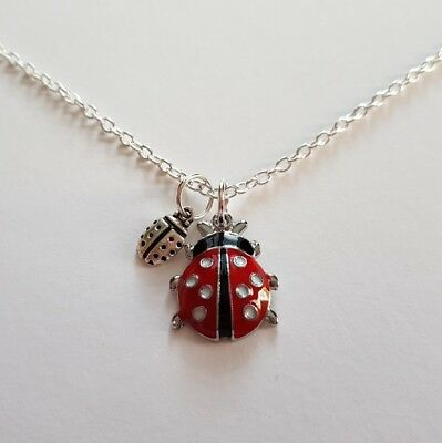 Girls / Childs Lady Bugs / Lady Beetles Silver Plated Lobster Clasp Necklace