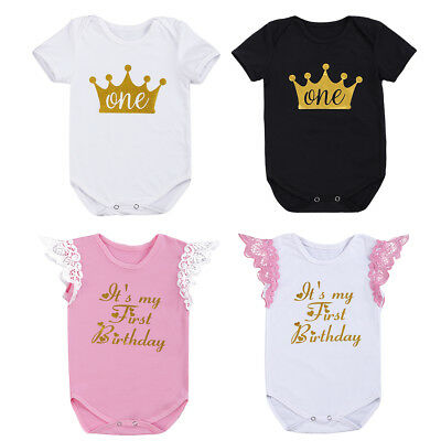 Toddler Kid Baby Boy Girl 1st Birthday Cake Smash Romper Bodysuit Outfit Clothes