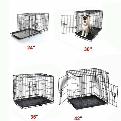 """24""""30""""36""""42""""Folding Dog Cage Pet Puppy Crate Travel Carrier Training + Sleeping"""