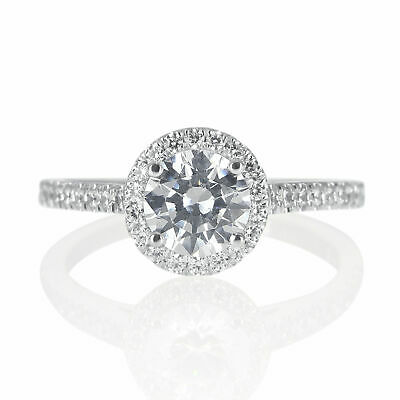 1.10 CT D/SI1 Wedding Round Cut Enhanced Diamond Engagement Ring 18K White Gold