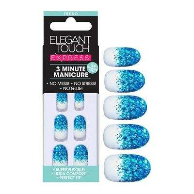 Elegant Touch Express False Nails - Blue Glitter (24 Nails)