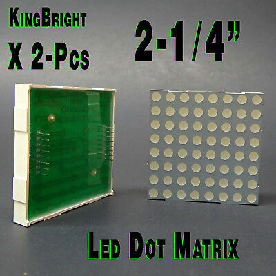 "2 - Kingbright TC23-11SRWA- LED Dot Matrix Display, Red, 1.85 V 8x8 2.3"" square."