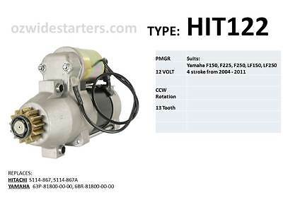Yamaha starter motor suits F150, F225, F250, LF150, LF250 from 2004 - 2011