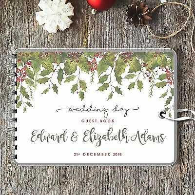 Personalised Wedding Guest Book Trailing Holly & Berries Blank Message Book