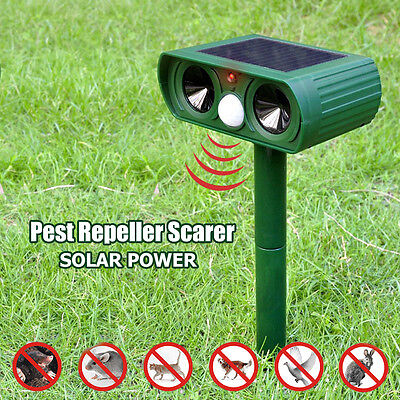 Solar Power Dual Ultra Sonic Garden Pest Repeller Dog Fox Animal Deterrent