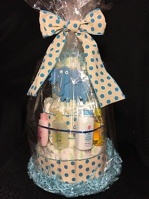 Baby Boy Blue Elephant Diaper Cake 3 Tier Johnsons Shower Gift Centerpiece