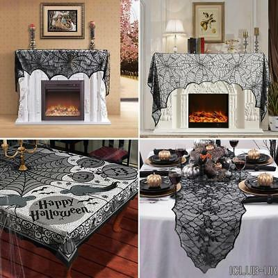 Halloween Props Decoration Spider Curtain Door Table Runner Lace Cobweb Black