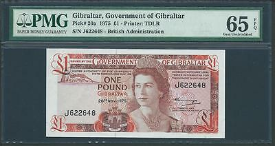 "1975 GIBRALTAR 1 POUND ""THE GOVERNMENTOF GIBRALTAR""  PICK # 20a PMG 65 LQQK!"