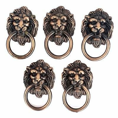 5pc Dresser Drawer Cabinet Door Ring Lion Head Pull Handle for antique furniture