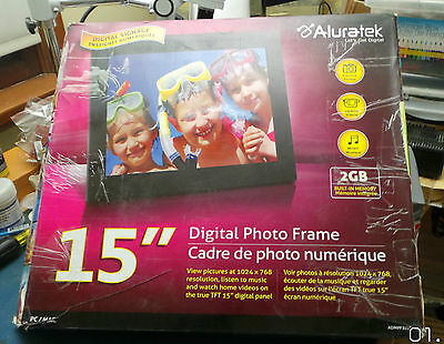 Aluratek Admpf315F 15 Inch Digital Photo Frame With 2Gb- As Is Or For Parts
