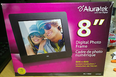 """Aluratek 8"""" LCD Digital Photo Frame Black ADPF08SF 8"""" 800x600-FOR PARTS, AS IS"""