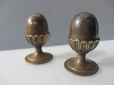 Antique Solid Brass Finials Acorn Curtain Pole Ends Knobs Vintage Old