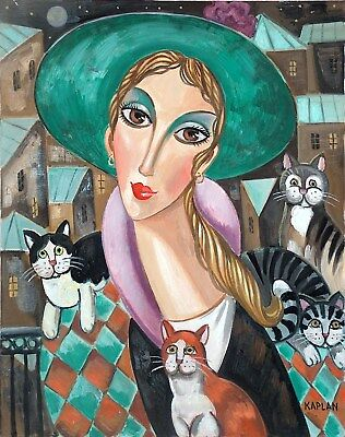 """Kaplan~Listed Russian Painter~Original & Signed Artwork~""""mimi And Her Cats"""""""