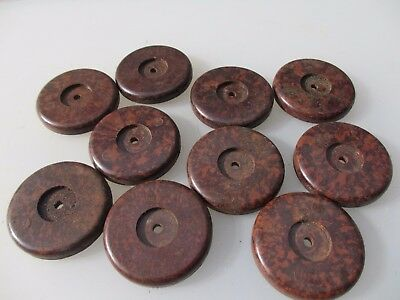 Vintage Bakelite Door Knobs Handles Backing Plates Art Deco Old Antique   x10