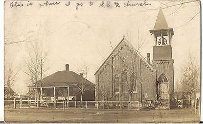 WHEATLAND WYOMING Church w/Bell Tower Parsonage? House 1910s Real PHoto Postcard