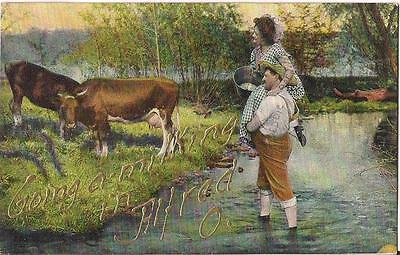 Going A Milking In ALFRED OHIO Man Carries Woman Over Stream To Cows Postcard