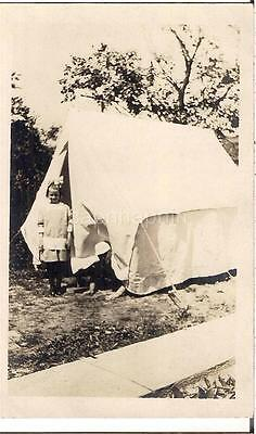 Darlig Girl Funny Man Peeking Out From Pup Tent Camping Vtg Real Photo Postcard