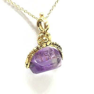 Lovely Floral C.1950 Spinning Amethyst Fob Pendant Necklace & 22 inch Gold Chain