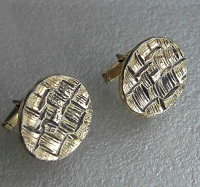 LARGE VINTAGE CUFFLINKS 1960s 1970s GOLDTONE METAL CHUNKY MODERNIST DESIGN MOD