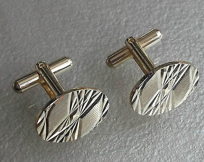 VINTAGE CUFFLINKS 1960s 1970s GOLDTONE CUT METAL DAZZLING MOD MODERNIST RETRO