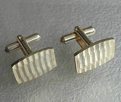 VINTAGE CUFFLINKS 1960s 1970s PALE GOLDTONE CUT METAL MOD MODERNIST RETRO