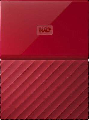 WD - My Passport 2TB External USB 3.0 Portable Hard Drive - Red