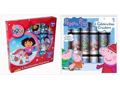 Peppa pig Dora the explorer christmas xmas crackers pack of 5