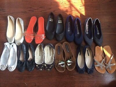 Lot of 11 Women's Sz 6 Designer Shoes Flats Wedges Ferragamo Vera Madden Fitflop