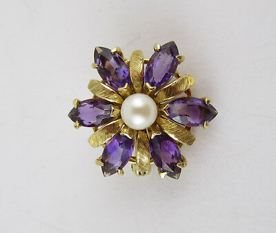 Round Brushed 9ct Gold, Amethyst And Pearl Flower Brooch