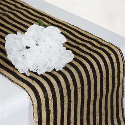 "36 x BURLAP STRIPES TABLE RUNNERS 14x108"" Country Wedding Party Catering Linens"