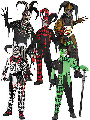 Boys Krazed Jester Costume Halloween Fancy Dress Evil Clown Joker Kids Harlequin