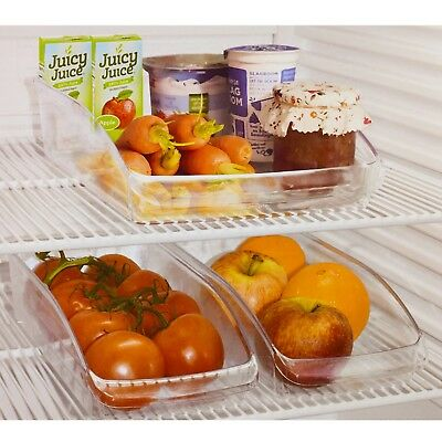 2x Fridge Clear Organiser Plastic Storage Holder Refrigerator Cans Fruit Veg Set