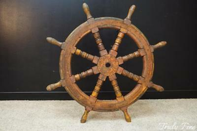 Authentic Antique Ships Wheel Wooden and Metal Real Patina of Age
