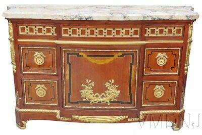 VMD656-French Style Inlaid Marbletop Commode