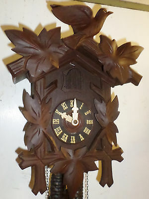 Stunning Antique Large Working German Black Forest Deeply Carved Cuckoo Clock!