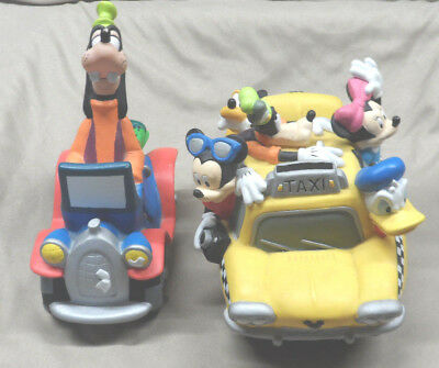 LOT of 2 Vintage Walt Disney Mickey Donald Goofy Car Coin Banks Preowned *READ*