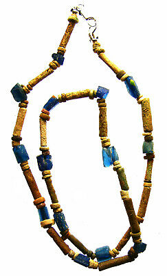Egyptian Mummy Bead & Roman Glass 15-in. Necklace Restrung, circa 600-5th cen AD
