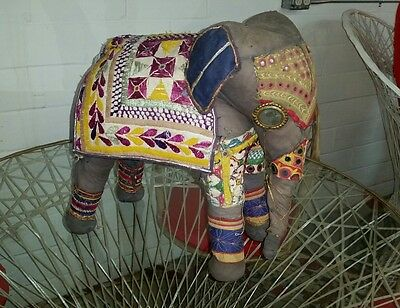 Large Vintage Chindi Elephant Hand Quilted Embroidered Boho Home Deco