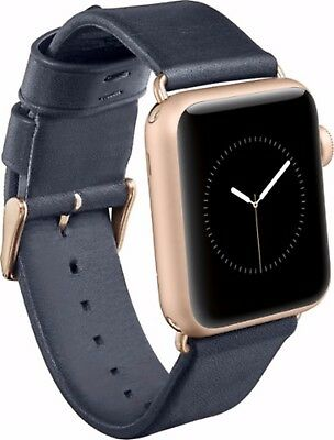 OEM Nomad Blue Leather Band Strap w/ Rose Gold Lugs for Apple Watch 38mm