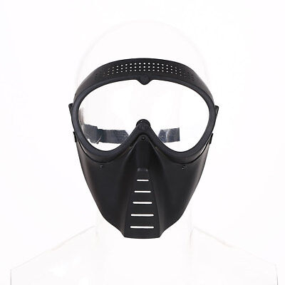 Protective Airsoft Paintball Game Tactical Black Clear Lens Helmet Mask