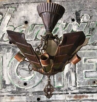 1920s Art Deco 5 Slip Shade Chandelier Light Fixture   (D2)