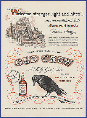 Vintage 1948 OLD CROW Kentucky Bourbon Whiskey Alcohol Liquor Print Ad 40's