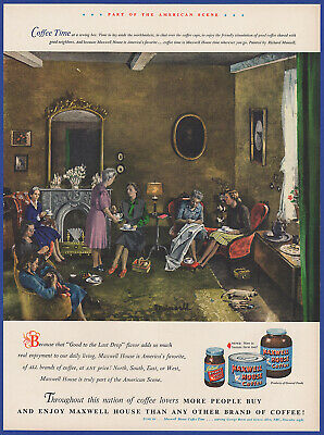 Vintage 1948 MAXWELL HOUSE Coffee Sewing Bee Kitchen Art Decor Print Ad 40's